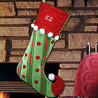 Embroidered Polka Dot and Stripes Christmas Stocking