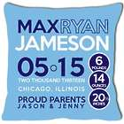 Personalized Birth Announcement Pillow with Circles for Baby Boy