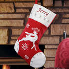 Embroidered Red Velvet Reindeer Christmas Stocking