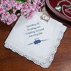 Something Blue Personalized Wedding Handkerchief