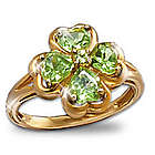 Luck of the Irish Peridot Four Leaf Clover Ring