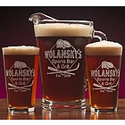 Personalized Sports Bar Design Two Pint Glass & Pitcher Set
