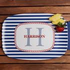 Personalized Anchors Aweigh Melamine Serving Platter