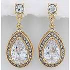 Teardrop Design Cubic Zirconia Dangling Earrings in Goldtone