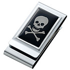 Personalized Skull & Bones Chrome Plated 2-Sided Money Clip