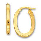Oval Shaped 14K Yellow Gold Hoop Earrings