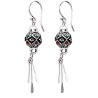 Fancy Filigree Drop Silver Earrings