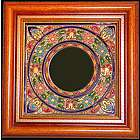Handmade Ceramic Mirror with Wood Frame and Enamels