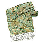 Green Lotus Pond Batik Silk Patterned Scarf