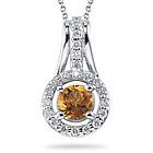 Diamond and Citrine Pendant in 14K White Gold