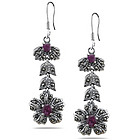 Ruby Marcasite Filigree Flower Dangle Earrings in Silver