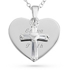 Girl's Cross Heart Necklace
