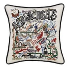 Hand Embroidered Massachusetts Accent Pillow