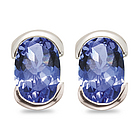 Tanzanite Stud Earrings in 14K White Gold