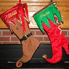 Glittery Elf Style Personalized Christmas Stocking