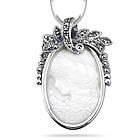 Cameo Marcasite Filigree Pendant in Silver