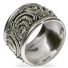 Sterling Silver Wide Bali Band Ring