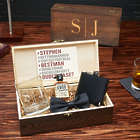 Groomsmen's Personalized Quinton Gift Set in Wooden Box