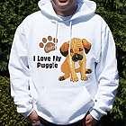 I Love My Puggle Personalized Hooded Sweatshirt