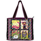 Cranky Cats Quilted Tote Bag with Cosmetic Case