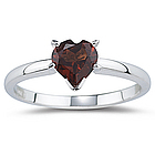 Garnet Heart Ring in 14K White Gold
