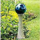 Stainless Steel Gazing Ball with Twisted Stand