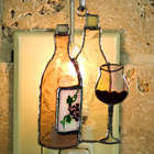 Wine Bottle Switchables Stained Glass Ornament/Nightlight