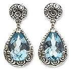 Azure Teardrops Blue Topaz Dangle Earrings