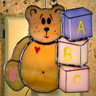 Teddy Bear Stained Glass Ornament/Nightlight