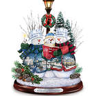 A Caroling We Will Go Lighted Singing Crystal Snowman Sculpture