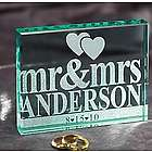 Personalized Mr & Mrs Glass Block