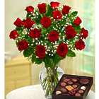 18 Long Stem Red Roses and Assorted Chocolates