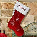 Embroidered Snowflake Christmas Stocking