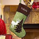 Embroidered Suede Reindeer Stocking