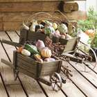 Small Solid Wood Wheelbarrow Planter Garden Decoration
