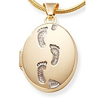 14k Gold Footprints Locket