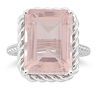 11.25 Cts Rose Quartz Solitaire Ring in 14K White Gold