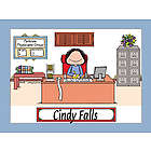Personalized Businesswoman Cartoon Print