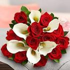 Stunning Red Rose and White Calla Lily Bouquet