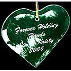 Etched Beveled Glass Heart Ornament