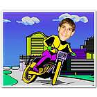 Motobike Rider Caricature Print from Photo