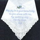 """Tears of Joy"" Personalized Wedding Day Hankie"