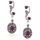 2.50 Cts Ruby Marcasite Filigree Dangle Earrings in Silver