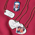 Engraved Heart or Dog Tag Photo Pendant