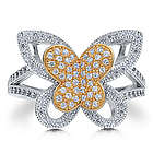 Sterling Silver and Cubic Zirconia Butterfly Ring