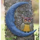 Recycled Metal Owl On Moon Wall Art