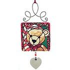 Engravable Teddy Bear Christmas Stained Glass Ornament