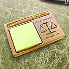 Personalized Lawyer Wooden Notepad and Pen Holder