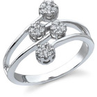 14K White Gold 1/4 Carat Diamond Cluster Ring