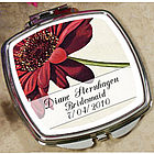Personalized Red Daisy Mirror Compact